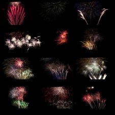 Composite Of Fireworks. Stock Images