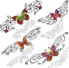 Free Decorative Butterflies. Stock Photos - 16125833