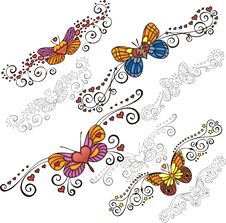 Free Decorative Butterflies. Royalty Free Stock Photography - 16125837