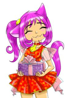 The Girl-neko With A Gift Stock Images