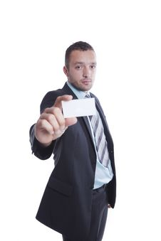 Free Young Businessman Holding Blank Business Card Royalty Free Stock Images - 16126489