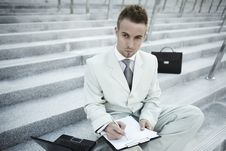 Free Businessman Portrait With Laptop Stock Photography - 16126932