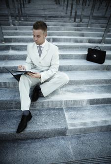 Free Businessman Portrait On Stairs Stock Image - 16126961