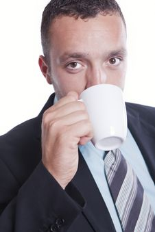Businessman With Cup Of Coffee Stock Photography