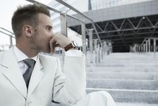 Free Businessman Portrait On Stairs Stock Photography - 16127042
