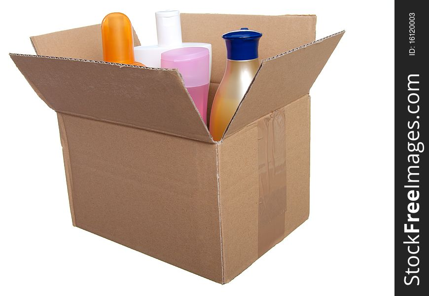 Box with plastic bottle