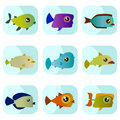 Free Cartoon Fish Set Stock Image - 16148631