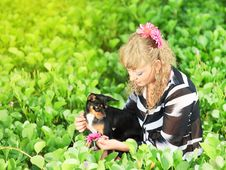 Woman And Dog Royalty Free Stock Photo