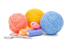 Ball Of Threads Isolated On White Background Stock Photos