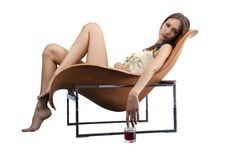 Free Young Female Relaxing In The Fashionable Chair Wit Stock Images - 16146804