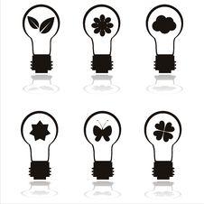 Set Of 6 Eco Lamp Icons Stock Photo