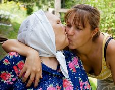 Grandmother And Granddaughter Embraced And Happy Royalty Free Stock Photo