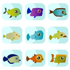 Free Cartoon Fish Set Stock Image - 16148631