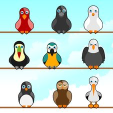 Cartoon Birds Stock Photo