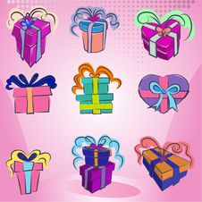 Gift Box Set Royalty Free Stock Photos
