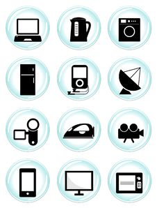 Electronic Icons Set Stock Images