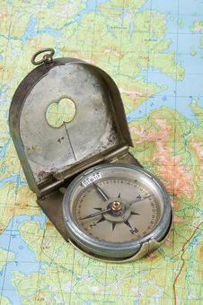 Free Compass On Topographical Map Stock Photo - 16149890