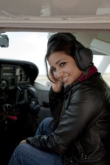 Free Woman With Headset In Airplane Stock Image - 16150121