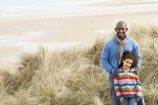 Free Father And Daughter Amongst Dunes On Winter Beach Royalty Free Stock Image - 16150346