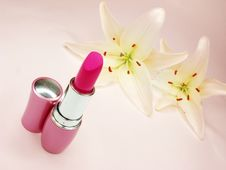 Free Red Lipstick With Lilies On Background Stock Images - 16151424