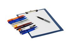 Free Set Of Ball Pens And The Note Royalty Free Stock Photo - 16151475