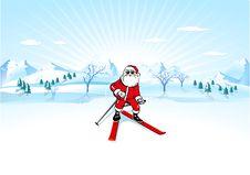 Free Santa Claus With Ski Royalty Free Stock Photography - 16152107