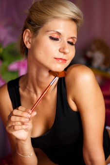 Free Beautiful Girl With Paintbrush For Make-up Stock Photography - 16152362
