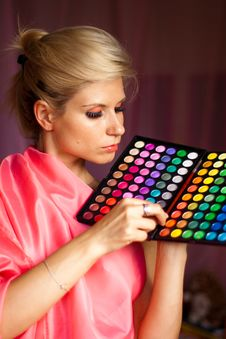 Beautiful Girl With Eye Shadow For Make-up Stock Photography