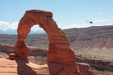 Free Helicopter Tour To The Delicate Arch Stock Image - 16153581