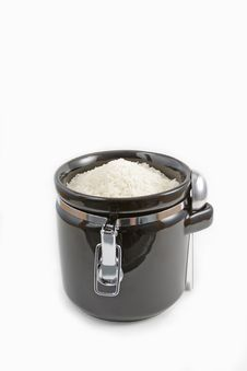 Free Ceramic Container Filled With White Rice Stock Image - 16153651