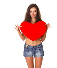 Free Sexy Smiling Woman With Heart Symbol Stock Photography - 16153752