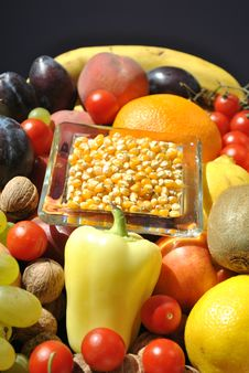 Free Corn On A Fruit Table Stock Image - 16154041