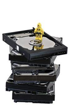 Free Miniature Technician Inspecting A Hard Drive Stock Photo - 16154450