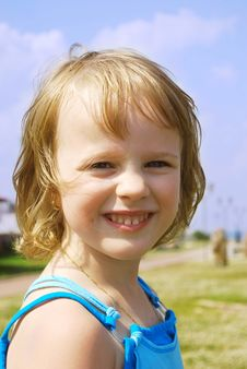 Portrait Of A Happy Little Girl. Royalty Free Stock Image