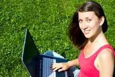 Free The Girl With Laptop On The Nature Royalty Free Stock Images - 16156679