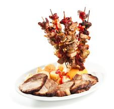 Roast Skewers And Potatoes Royalty Free Stock Photo