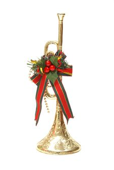 Free Christmas Trumpet Decoration Royalty Free Stock Image - 16157576