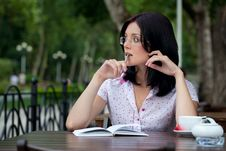 Free Girl With Notepad In Cafe Royalty Free Stock Photo - 16157785