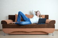 Free Woman With Laptop On The Sofa Royalty Free Stock Photo - 16157905