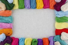 Framework From Multi-coloured Threads Royalty Free Stock Photography