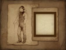Free Old Photo Frame With Pencil Drawing Stock Photo - 16159100