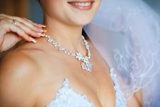 Free Adornment On Neck Of Young Bride Stock Image - 16159281