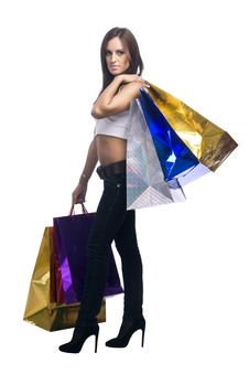 Free Woman With Bags Royalty Free Stock Photo - 16159495