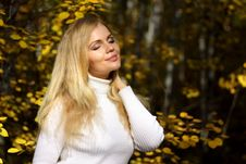 Free Girl In The Autumn Forest Royalty Free Stock Photography - 16159627
