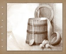 Free Pencil Drawing Of Wood Bucket Royalty Free Stock Image - 16159746