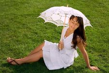 Free Pretty Young Woman With Closed Eyes On The Grass Royalty Free Stock Photography - 16160687