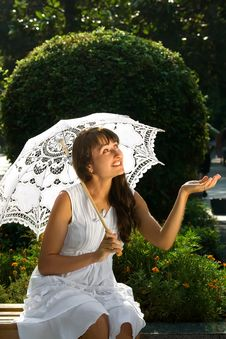 Free Emotional Lady With White Umbrella Stock Image - 16160981