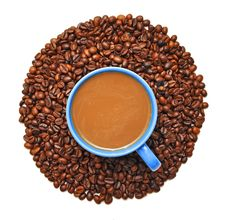 Free Roasted Coffee Beans And A Coffee Cup Royalty Free Stock Photography - 16161097