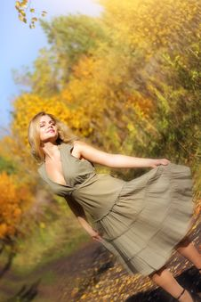 Free Girl Dances In The Autumn Forest Stock Image - 16162831