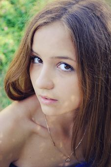Free Beautiful Thin Girl With Long Hair And Brown Eyes Royalty Free Stock Images - 16163139